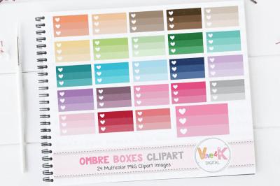 Multicolor Ombre Boxes Clipart Set | Ombre Planner Clipart