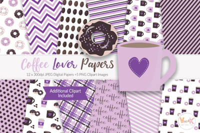 Coffee Love Digital Papers and Clipart | Coffee Clipart