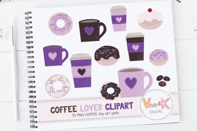 Coffee Lover Clipart | Donuts Clipart | Dessert Clipart