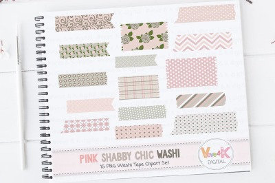 Pink Floral Washi Tape Clipart