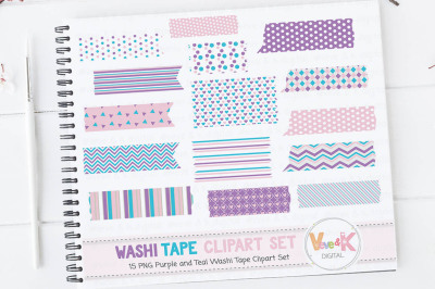 Purple and Teal Washi Tape Clipart