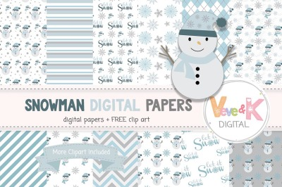 Snowman Digital Papers and Clipart Set | Winter Graphics