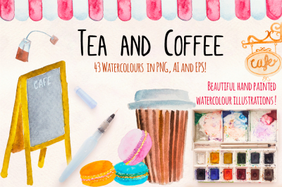 Tea and Coffee Watercolor Graphics