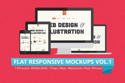 12 Flat Responsive Mockups V.1