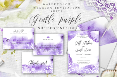 Gentle purple Watercolor Spring Wedding Invitation suite