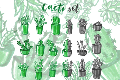 Cacti hand drawn set.