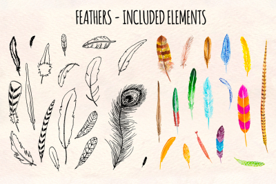 Feathers Ink Watercolor Graphics Kit