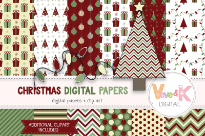 Christmas Digital Papers and Clipart Set | Christmas Graphics