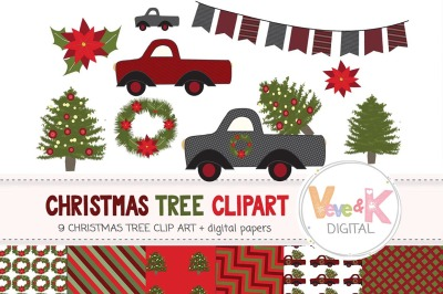 Christmas Tree Clipart | Christmas Digital Papers