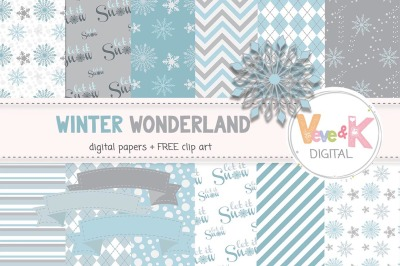 Winter Wonderland Digital Papers   Winter Background Patterns