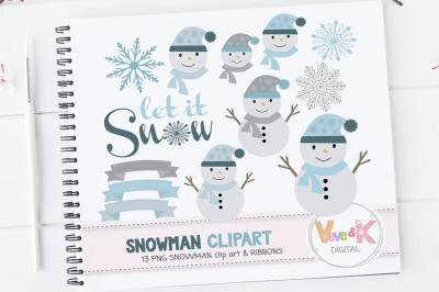Snowmen Clipart Set   Winter Graphics Pack