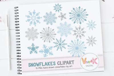 Snowflakes Clipart Set | Hand Drawn Clipart