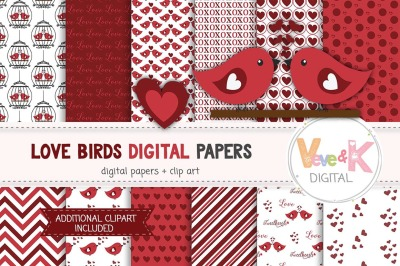 Love Birds Digital Papers and Clipart | Love Clipart
