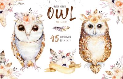 Watercolor cute owls II