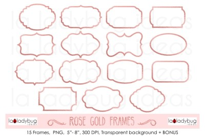Rose gold frames, clip art. Rose gold foil frames + BONUS