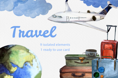 Happy travel! Watercolor clipart.