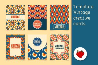 Template. Vintage creative cards.