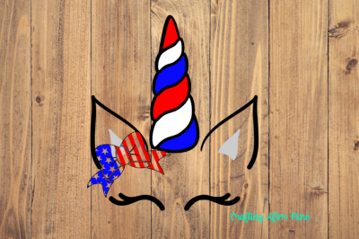 Red White Blue Unicorn with American Flag Bow
