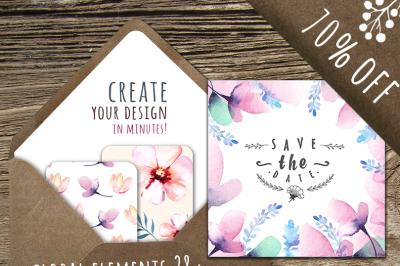 Watercolor floral DIY+Bonus