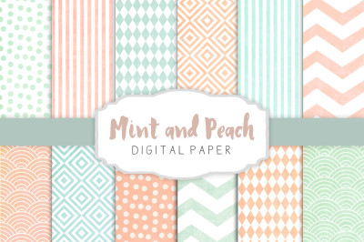 Peach and mint patterns