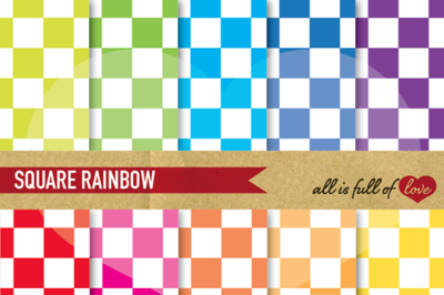 Rainbow Chess Digital Paper Pack Checkered Backgrounds