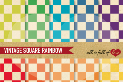 Retro Checkered Digital Paper Pack Rainbow Backgrounds