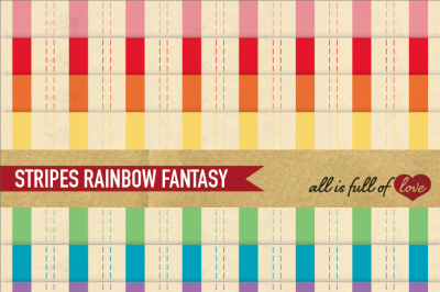 Stripes Paper Pack  Rainbow with vintage backgrounds