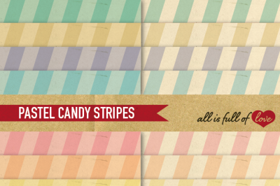 Pastel Stripes Paper Pack with vintage backgrounds