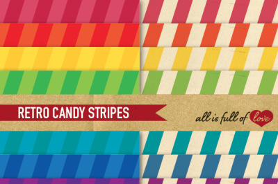 Candy Stripes Paper Pack Rainbow Retro backgrounds