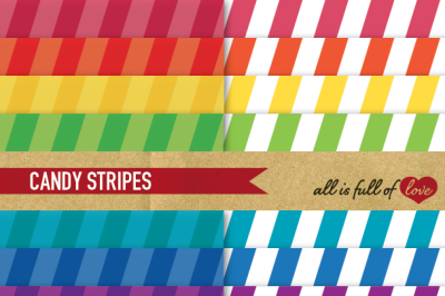 Rainbow Candy Stripes Paper Multicolored backgrounds