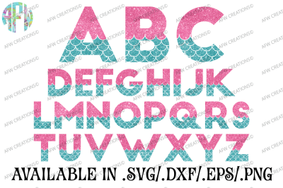 Mermaid Letters - SVG, DXF, EPS Cut Files