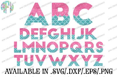 Mermaid Letters - SVG, DXF, EPS Cut Files