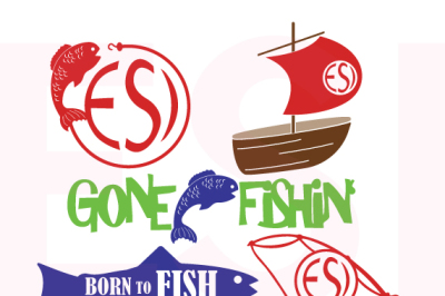 Fishing Monogram and Phrases Design Set - SVG, DXF, EPS, PNG - Cutting files