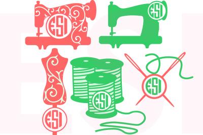 Sewing Monogram Design Set - SVG, DXF, EPS, PNG - Cutting Files.