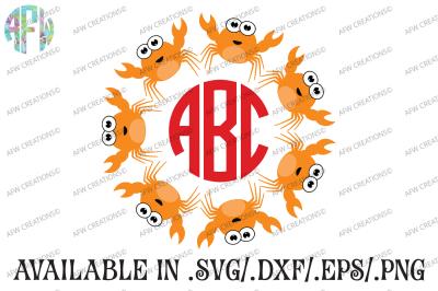 Crab Monogram - SVG, DXF, EPS Cut File