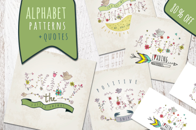 Floral & birds. Alphabet/patterns