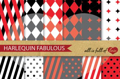 Harlequin Digital Paper Pack mardi gras