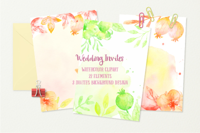 Watercolor Clipart Wedding Invites Green and Orange