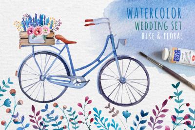 Watercolor bike & flowers