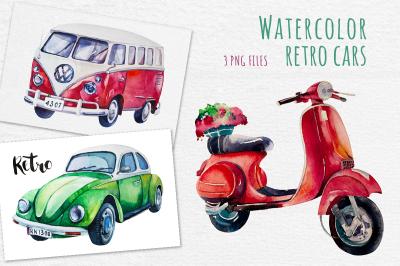 Watercolor  set of retro cars
