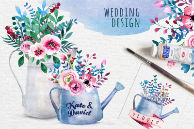 Watercolor bouquets in the watering can and pots