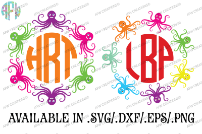 Octopus Monograms - SVG, DXF, EPS Cut Files