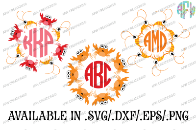 Crab & Shrimp Monograms - SVG, DXF, EPS Cut Files