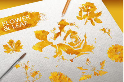 Flower & Leaf Gold texture elements