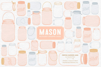 Vector Mason Jars Clipart in Peach