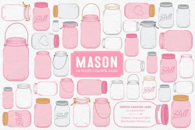 Vector Mason Jars Clipart in Pink