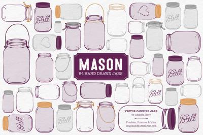 Vector Mason Jars Clipart in Plum