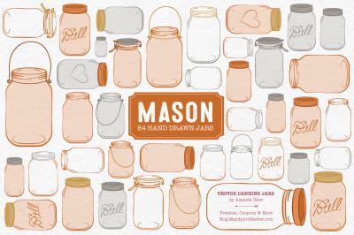 Vector Mason Jars Clipart in Pumpkin