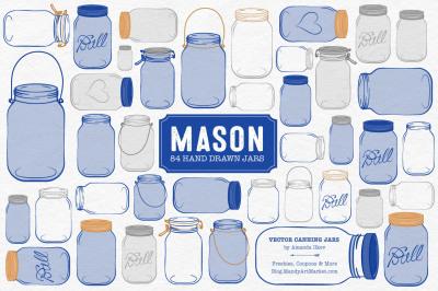 Vector Mason Jars Clipart in Royal Blue