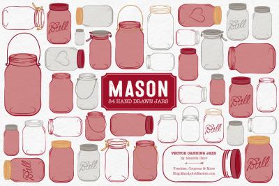 Vector Mason Jars Clipart in Ruby